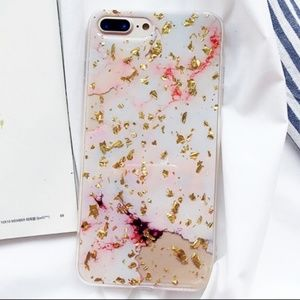Accessories - NEW iPhone 6+/7+/8+ Gold & Pink Foil Marble Case